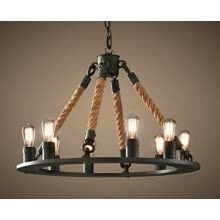 -BOKT 8-Light Hemp Rope Round Chandelier Vintage Country Style Industrial Artistic Island Light Fixture on JD