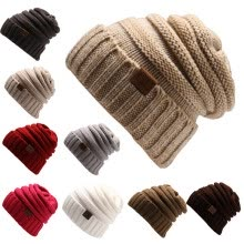 hats-caps-Men Women  Winter Knitted Wool Cap Unisex Folds Casual CC labeling Beanies Hat Solid Color Hip-Hop Skullies Beanie Hat Gorros on JD