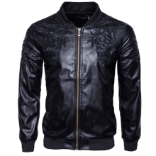 leather-faux-leather-Brand Man Zipper Leather Jackets Pu Leather Collar Embroidered Leather Jacket Men Black Motorcycle Leather Jacket on JD