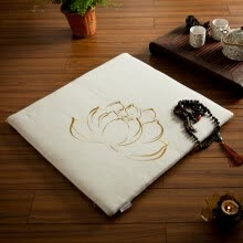slipcovers-seat-cushion-Nobildonna Lotus Pattern Linen Embroidery 60*60*3cm Square Chinese Style Floor Cushions Chair Pads Tatami Meditation Cushion on JD