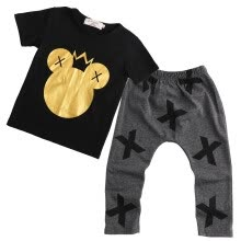 -Infant Newborn Baby Boy Girl Mickey Cotton T-shirt Tops+Pants Outfits Set 0-5 Y on JD