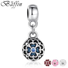 875062454-3 Colors Silver Color Round Flower Charm Pendant Fit Bracelet Necklace Original Bead Accessories Blue Enamel on JD
