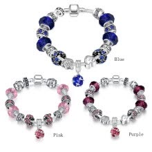 -Vintage Dazzling Glass Bracelets Women Crystal Heart Crown Beads Bangles DIY Hand Chain Girl wristband Jewelry Gift on JD