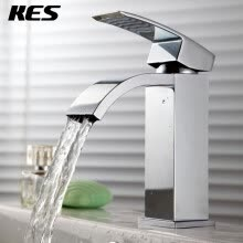 87502-KES L3109A Single Handle Waterfall Bathroom Vanity Sink Faucet with Extra Large Rectangular Spout, Chrome on JD