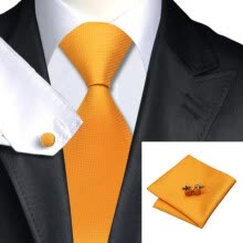 -N-0356 Vogue Men Silk Tie SetOrange Solid Necktie Handkerchief Cufflinks Set Ties For Men Formal Wedding Business wholesale on JD