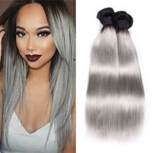 -Ombre 4 bundles Gray Hair Weave T1B/Gary 8a Brazilian Virgin Straight Hair Natural Wave Light Grey Hair Weaving Weft on JD