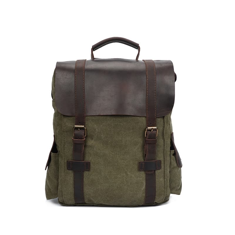 3b6eefb819a7 Men Casual Canvas Backpacks Vintage School Bags Young Large Capacity Travel  Bag Women Mochila Leather Laptop Backpack Rucksack
