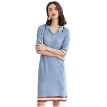 228d2d9aa4 Ice silk knit dress female POPL collar 2018 new women s summer loose T-shirt  large size was thin five-point sleeve